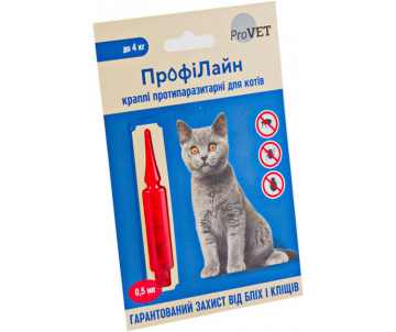 ProVET ПрофиЛайн капли от блох и клещей для кошек 1 пипетка