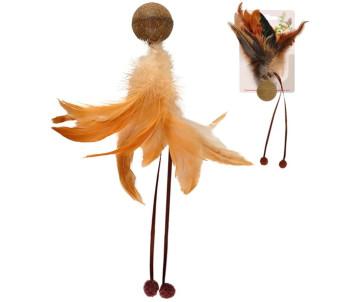 Flamingo Catnip Ball & Feather МЯЧ С ПЕРЬЯМИ игрушка с кошачьей мятой