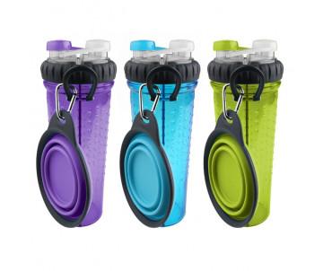 Dexas Snack-DuO Bottle Бутылочка двойная для воды и корма со складной миской