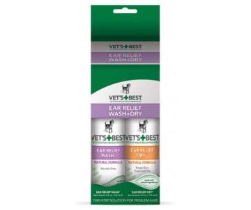 Vet's Best Ear Relief Wash Dry Combo Kit Набор для чистки ушей собак