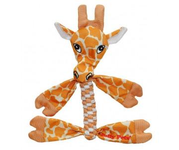 Jolly Pets FLATHEADS giraffe Игрушка-пищалка для перетягивания