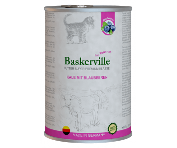 Baskerville Super Premium Cat Kitten Kalb Mit Brlaubeeren Wet
