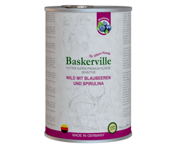 Baskerville Dog Adult Sensitive Wild Mit Blaubeeren und Spirulina Wet