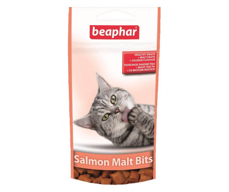 Beaphar Malt Bits Salmon Подушечки для выведения шерсти из желудка котов со вкусом лосося