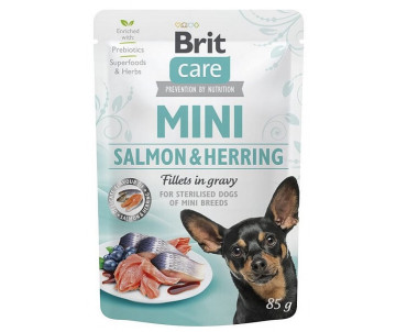 Brit Care Dog Adult Mini Salmon Herring Fillets In Gravy pouch