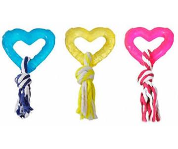 Flamingo Good4Fun Hart With Rope игрушка для собак, сердце с веревкой, резина