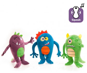 Flamingo Plush Monsters Happy игрушка для собак, плюш, с пищалкой; зеленый, синий, фиолетовый