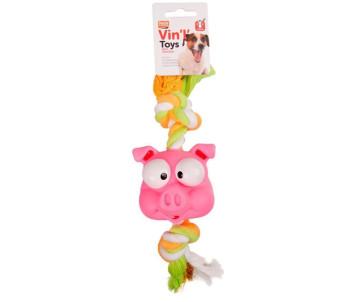 Flamingo Animal Head+Rope игрушка для собак, голова с канатом, винил