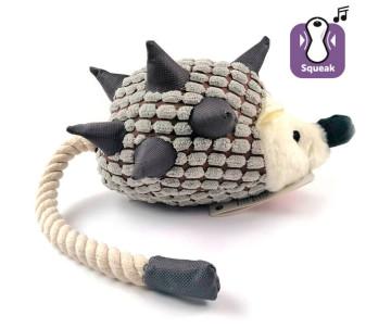 Flamingo Hedgehog Plush ЕЖИК с веревочным хвостом игрушка для собак, с пищалкой