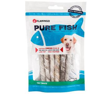 Flamingo Fish Snack Natural Cod Skin Twist лакомство для собак, трубочки из кожи трески