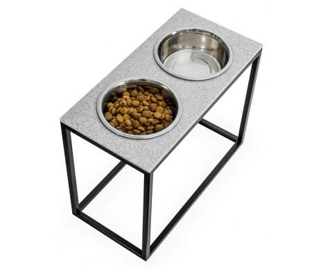 Harley And Cho Dinner Stone Pepper Stone + Black миски на подставке для средних и больших собак