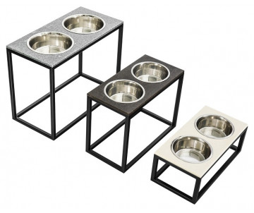 Harley And Cho Dinner Stone Brown Stone + White миски на подставке для средних и больших собак