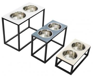 Harley And Cho Dinner Stone White Stone + Black миски на подставке для средних и больших собак