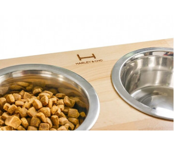Harley And Cho Dinner Wood Natural Wood + Black миски на подставке для средних и больших собак