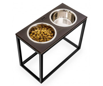 Harley And Cho Dinner Wood Brown Wood + Black миски на подставке для средних и больших собак