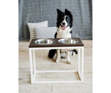 Harley And Cho Dinner Wood Natural Wood + White миски на подставке для средних и больших собак