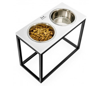 Harley And Cho Dinner Wood White Wood + Black миски на подставке для средних и больших собак