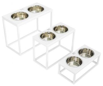 Harley And Cho Dinner Stone White Stone + White миски на подставке для средних и больших собак
