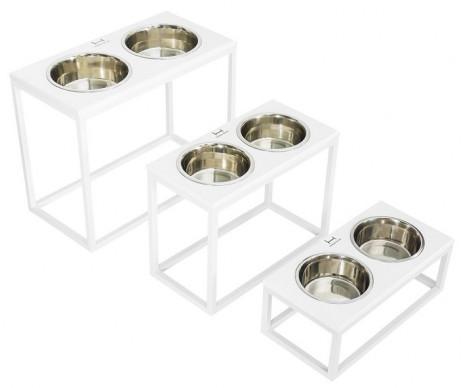 Harley And Cho Dinner Wood White Wood + White миски на подставке для средних и больших собак
