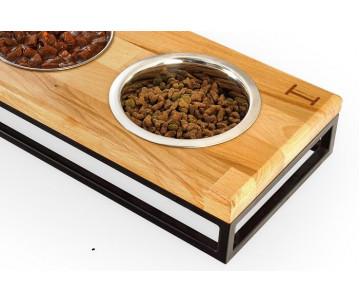 Harley And Cho Lunch Bar Wood Natural Wood + Black 3 миски на подставке для котов