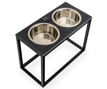 Harley And Cho Dinner Stone Black Stone + Black  миски на подставке для средних и больших собак
