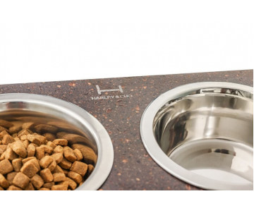 Harley And Cho Dinner Stone Brown Stone + Black миски на подставке для средних и больших собак