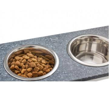 Harley And Cho Dinner Stone Gray Stone + White миски на подставке для средних и больших собак