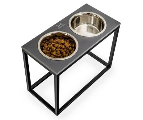 Harley And Cho Dinner Stone Gray Stone + Black миски на подставке для средних и больших собак