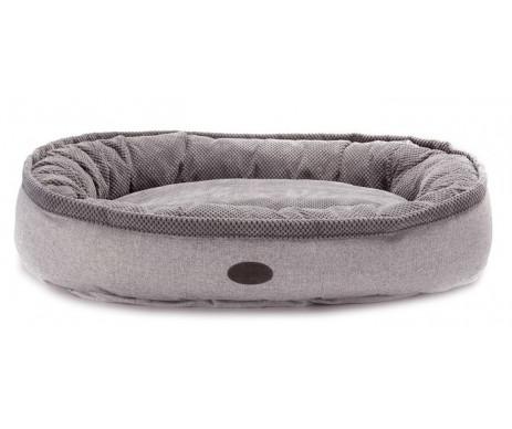 Harley And Cho Donut Soft Touch Gray Овальный лежак для средних и больших собак