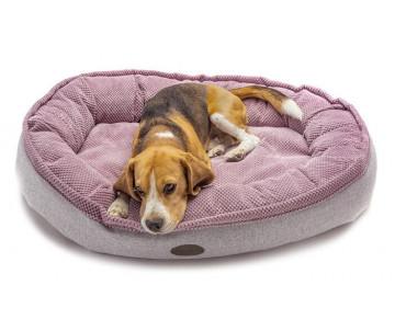 Harley And Cho Donut Soft Touch Pink Овальный лежак для средних и больших собак