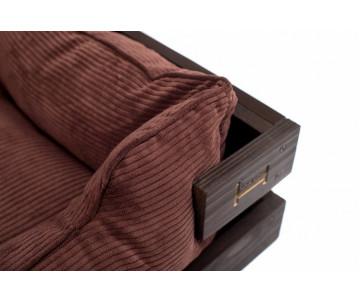 Harley And Cho Dreamer Wood Brown + Brown Velvet Лежак коричневый с деревянным каркасом