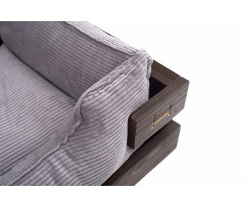 Harley And Cho Dreamer Wood Brown + Gray Velvet Лежак серый с деревянным каркасом