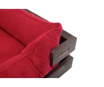 Harley And Cho Dreamer Wood Brown + Red Velvet Лежак красный с деревянным каркасом