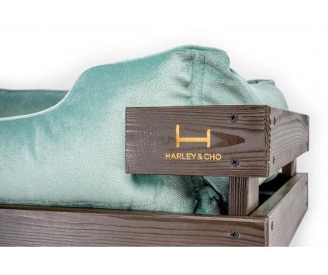 Harley And Cho Dreamer Wood Brown + Tiffany Velour Лежак мятный с деревянным каркасом