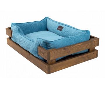 Harley And Cho Dreamer Wood Nature + Blue Velvet Лежак голубой с деревянным каркасом