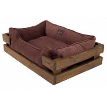 Harley And Cho Dreamer Wood Nature + Brown Velvet Лежак коричневый с деревянным каркасом