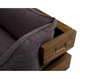 Harley And Cho Dreamer Wood Nature + Gray Лежак серый с деревянным каркасом