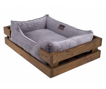 Harley And Cho Dreamer Wood Nature + Gray Velvet Лежак серый с деревянным каркасом
