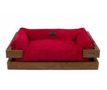 Harley And Cho Dreamer Wood Nature + Red Velvet Лежак красный с деревянным каркасом