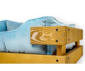 Harley And Cho Dreamer Wood Nature + Blue Velour Лежак голубой с деревянным каркасом