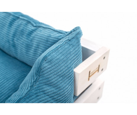 Harley And Cho Dreamer Wood White + Blue Vevlet Лежак голубой с деревянным каркасом