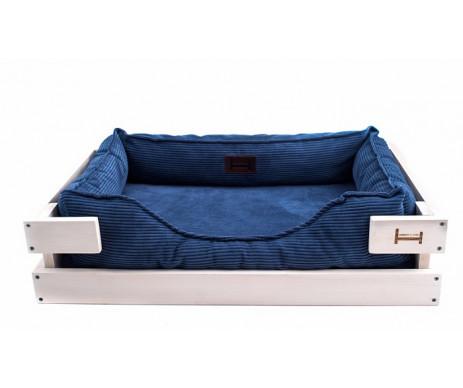 Harley And Cho Dreamer Wood White + Denim Vevlet Лежак синий с деревянным каркасом