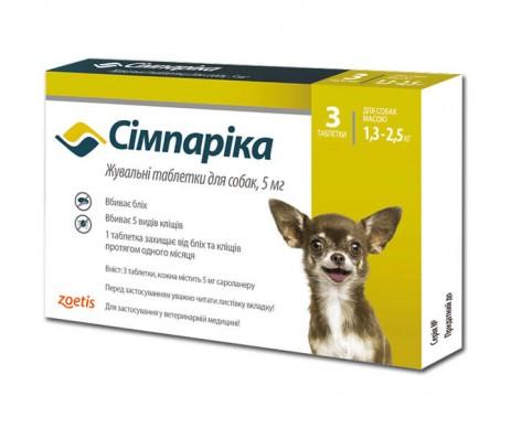 Simparica жевательные таблетки, для собак, 1 таб