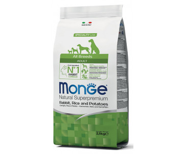 Monge Dog Adult All Breeds Rabbit Rice