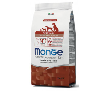 Monge Dog Puppy Junior All Breeds Lamb Rice