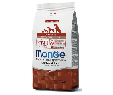 Monge Dog Puppy Junior All Breeds Lamb Rice