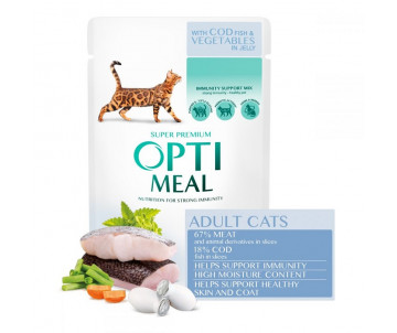 Optimeal Cat Adult Cod Fish Vegetables in Jelly Wet