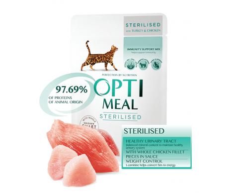 Optimeal Cat Adult Sterilised Turkey Chicken Wet
