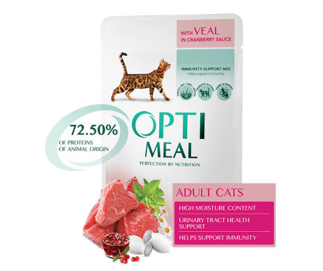 OPTIMEAL Cat With Veal in Cranberry Sauce
