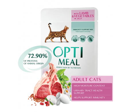 Optimeal Cat Adult Lamb Vegetables Jelly